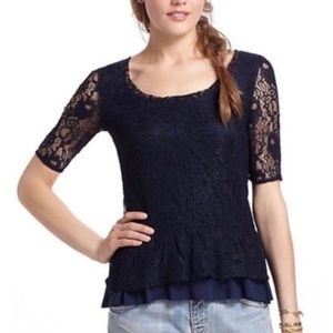 Anthropologie Deletta navy blue lace top S